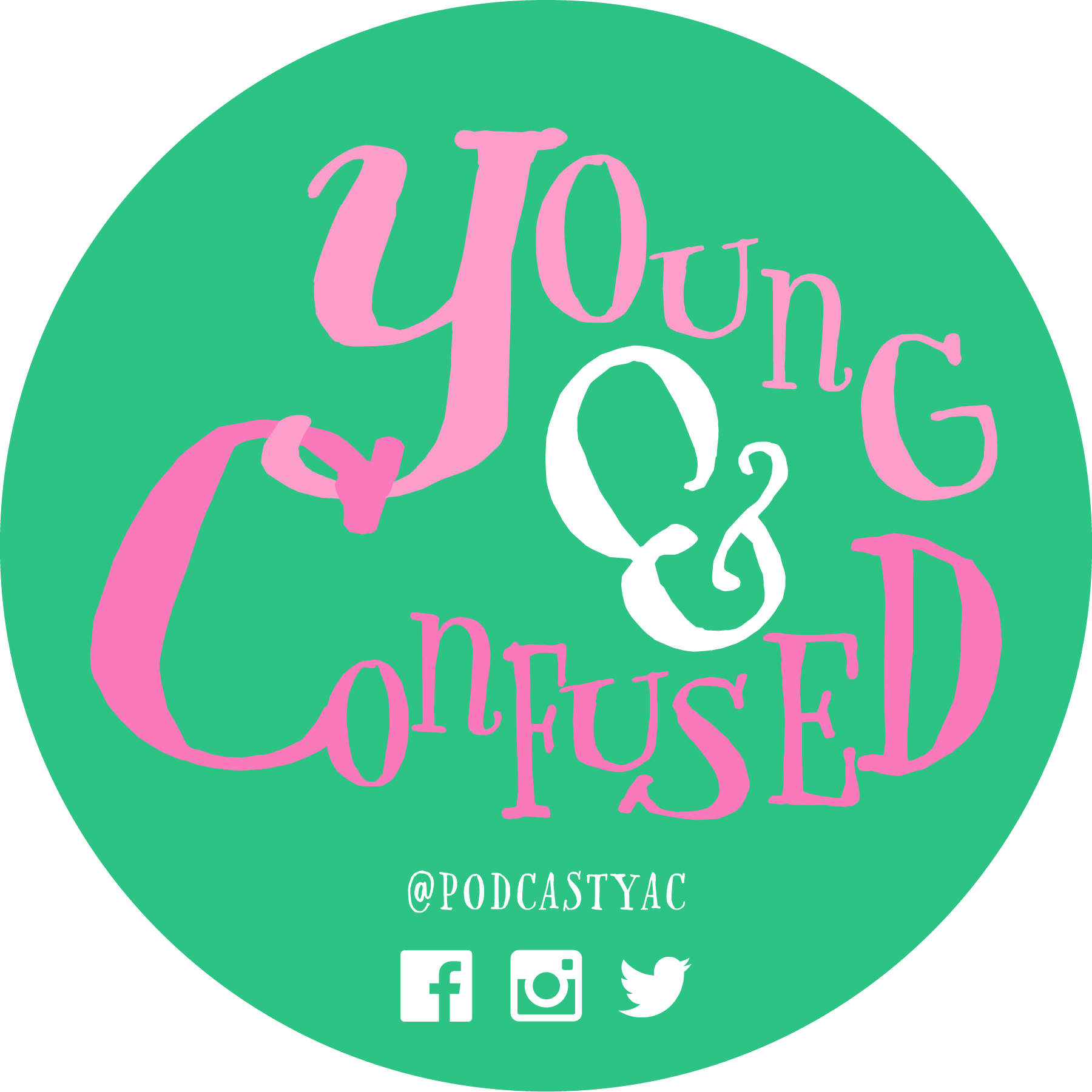 Young & Confused logo / Pink text on a teal background