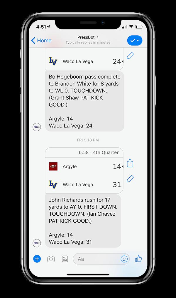 Facebook messenger bot gives score updates
