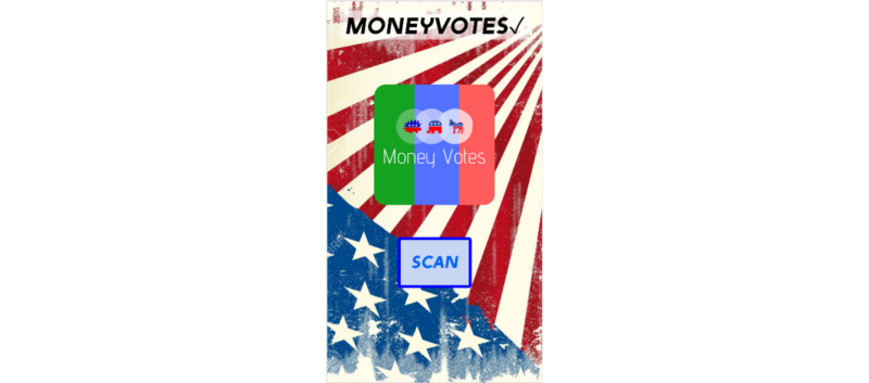 phone screen with moneyvotes logo and scan button